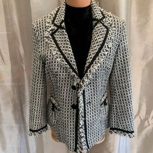 Karen Millen Tweed Fringe Edge Blazer